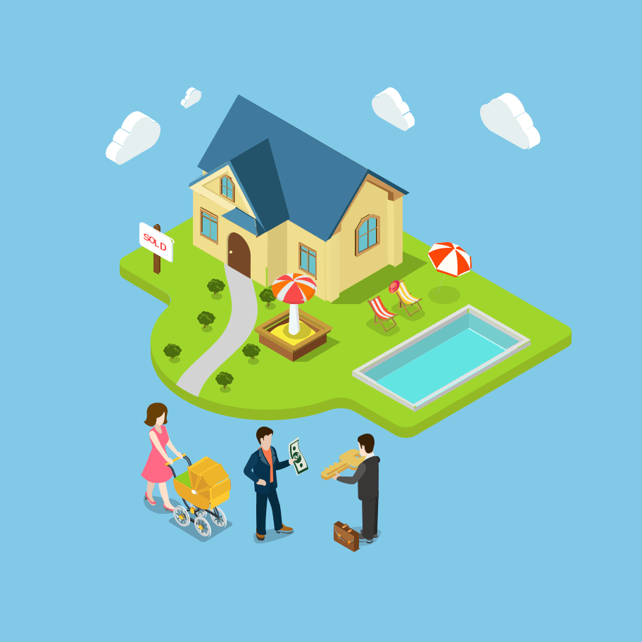 Illustration d'une famille qui obtient les clés de leur nouvelle maison
